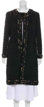 Oscar de la Renta Tweed-Trimmed Knee-Length Coat