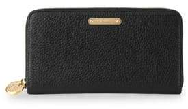 GiGi New York Black Pebbled Leather Large Zip-Around Wallet