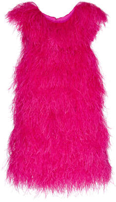 Calvin Klein Silk Dress With Ostrich Feathers
