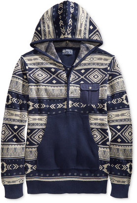 American Rag Men's Geo Stripe Anorak Sweater, Only at Macy's $40 thestylecure.com
