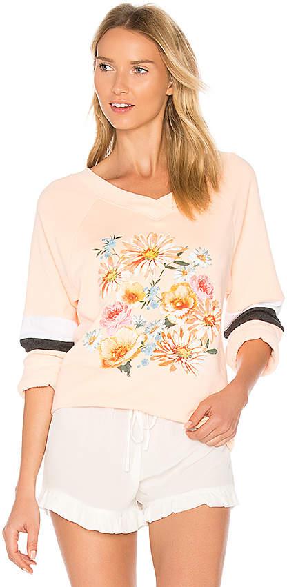 Wildfox Couture Nana's Wallpaper Pullover in Peach