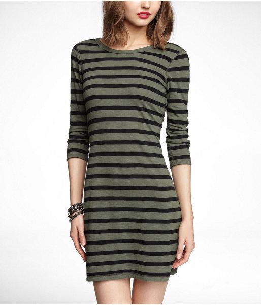 Express Striped Convertible Neckline Slub Dress