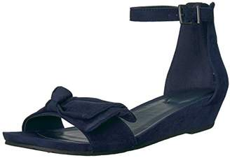 Kenneth Cole Reaction Women's Start Low Wedge Sandal Bow Detail Microsu