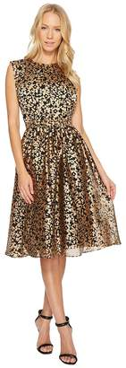 Catherine Malandrino Sleeve Pleated Dress with Layered Bodice Women's Dress