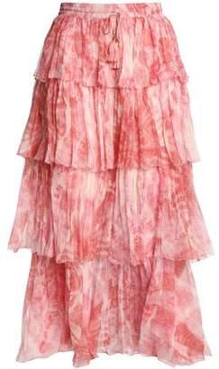 Zimmermann Tiered Printed Crinkled Silk-Chiffon Midi Skirt