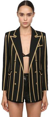 Saint Laurent Striped Wool Gabardine Blazer