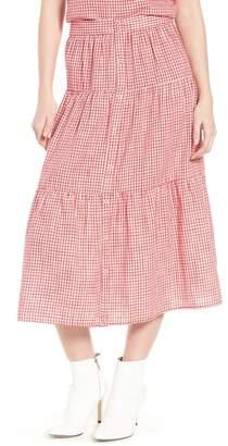 Ten Sixty Sherman Gingham Tiered Midi Skirt