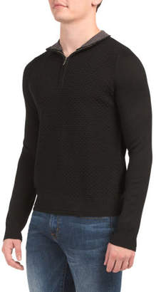 Long Sleeve Quarter Zip Mock Neck Sweater