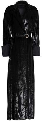Michael Lo Sordo Metallic Velvet Maxi Wrap Dress