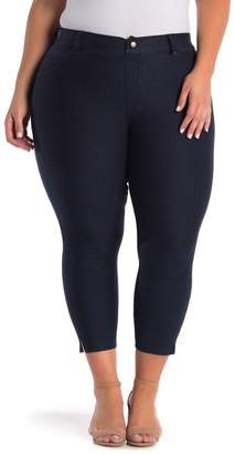 Hue Ankle Slit Crop Denim Leggings (Plus Size)