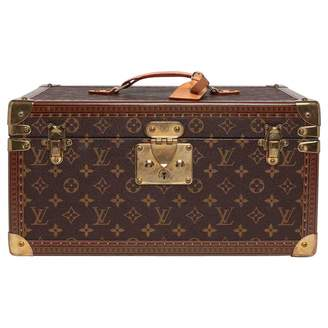 Louis Vuitton Vintage Petit Malle Brown Cloth Travel Bag