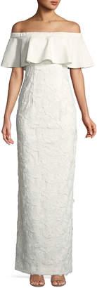 Black Halo Eve Venna Off-The-Shoulder Column Gown