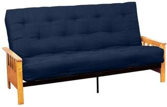 LOFT Comfort Style Arts & Crafts 10-inch Inner Spring Futon Sofa Sleeper Bed, Full-size, Natural Arms, Suede Dark Blue