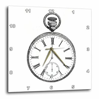 3dRose Black and white vintage pocket watch - steampunk old-fashioned victorian pocketwatch drawing print, Wall Clock, 10 by 10-inch