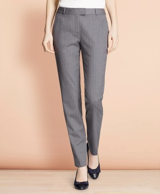 Brooks Brothers Tapered Pinstripe Stretch Wool Trousers