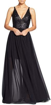 Dress the Population Lori Sequin Plunging Chiffon Gown