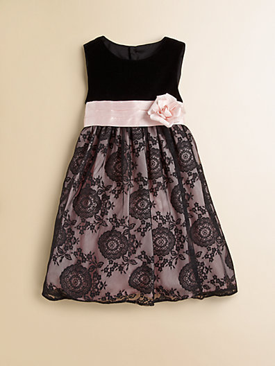 Luli and Me Toddler's & Little Girl's Velvet Lace Dress
