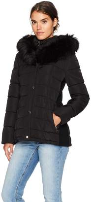 Calvin Klein Women's Down Puffer Coat with Dramatic Faux Fur Trimmed Hood