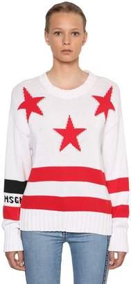 MSGM Star & Logo Intarsia Cotton Knit Sweater