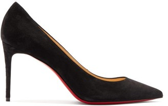 Christian Louboutin Kate 85 Point Toe Suede Pumps - Womens - Black