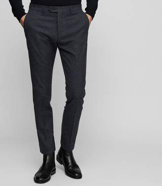 Reiss HAVEN Slim Fit Checked Trousers Navy