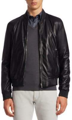 Giorgio Armani Reversible Leather Bomber Jacket
