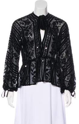 For Love & Lemons Semi-Sheer Long Sleeve Top