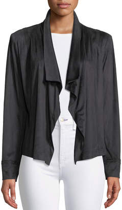 Donna Karan Draped Open-Front Sueded Cardigan Jacket