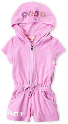 Butter Shoes Toddler Girls) Mineral Wash Terry Hooded Romper