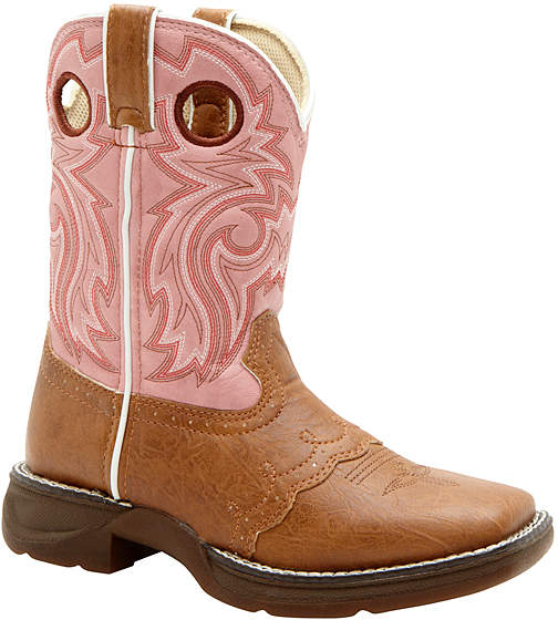 Tan & Pink Embroidered Western Boot - Girls