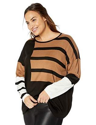 Calvin Klein Women's Plus Size Stripe Color Block Crewneck Sweater