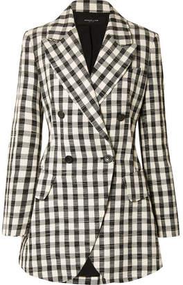 Derek Lam Double-breasted Gingham Cotton-blend Blazer - Black