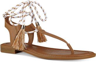 Nine West Gannon Tassel Lace-Up Thong Sandals $69 thestylecure.com