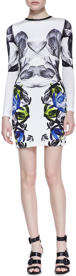 Yigal Azrouel Cut25 by Mirrored Floral-Print Long-Sleeve Jersey Dress