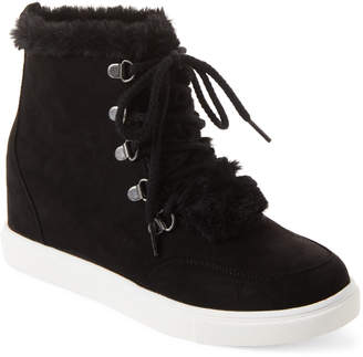 Madden-Girl Black Pulley Wedge High-Top Sneakers