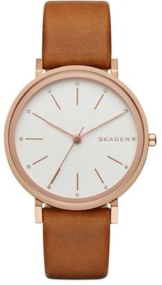 Women's Skagen 'Hald' Leather Strap Watch, 34Mm $155 thestylecure.com