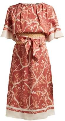 Johanna Ortiz Rhapsody Floral Print Silk Crepe De Chine Dress - Womens - Orange Multi