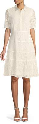 Nanette Lepore Lace Short Sleeve Shirtdress