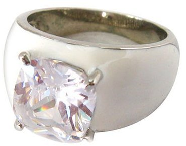 Zirconite White Solid Cushion Cut Enamel Ring - Size 7