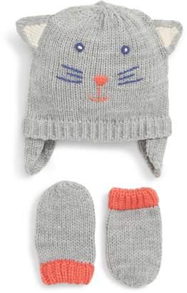 Boden Mini Cat Hat & Mitten Set