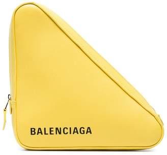 Balenciaga Yellow Triangle Leather Clutch