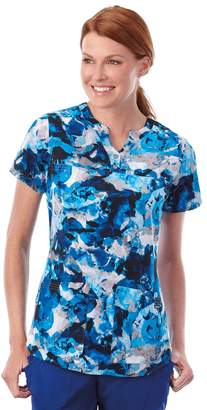 Jockey Plus Size Scrubs Classic Placket Print Short Sleeve Top