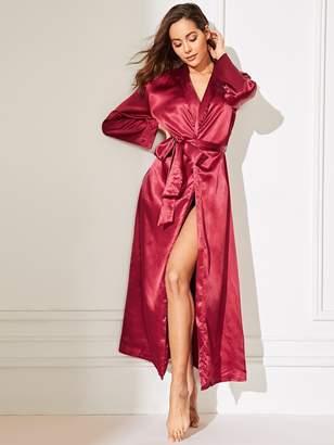 Shein Self Belted longline Satin Robe