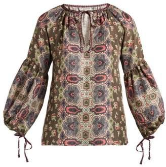 D'ascoli - Misha Balloon Sleeve Silk Top - Womens - Khaki Print