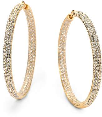 "Adriana Orsini Women's Pavé Crystal & 18K Goldplated Inside-Outside Large Hoop Earrings/1.75"""