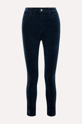 J Brand Leenah Stretch Cotton-blend Velvet Skinny Pants - Midnight blue