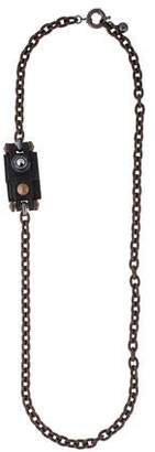 Lanvin Leather & Crystal Long Chain Necklace
