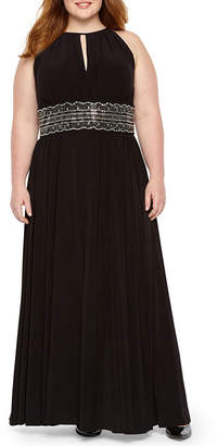 R & M Richards Sleeveless Embellished Halter Gown - Plus