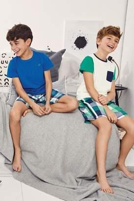 Next Boys Blue/Green Sporty Check Woven Pyjamas Two Pack (3-16yrs)