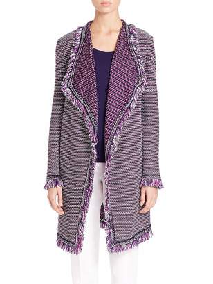 St. John Women's Open-Front Tweed Cardigan